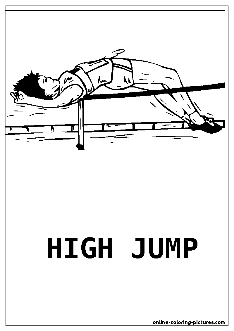high jump coloring picture