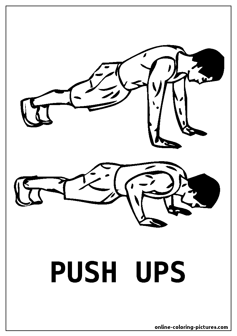 push ups coloring picture