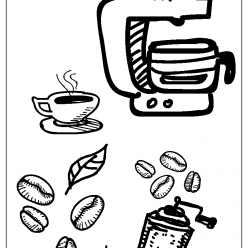coffee coloring picture