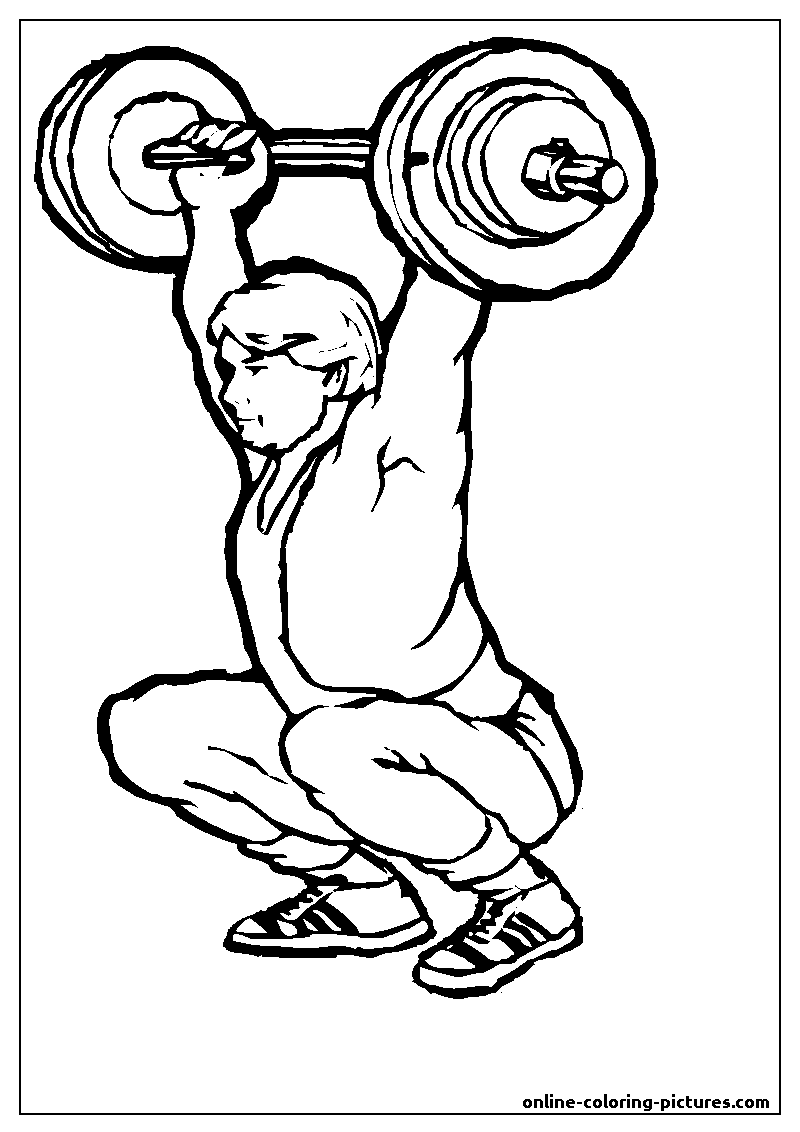 weightlifting coloring picture
